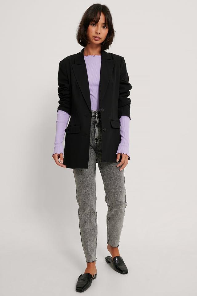 Organic Stone Washed Slim High Waist Jeans Grey