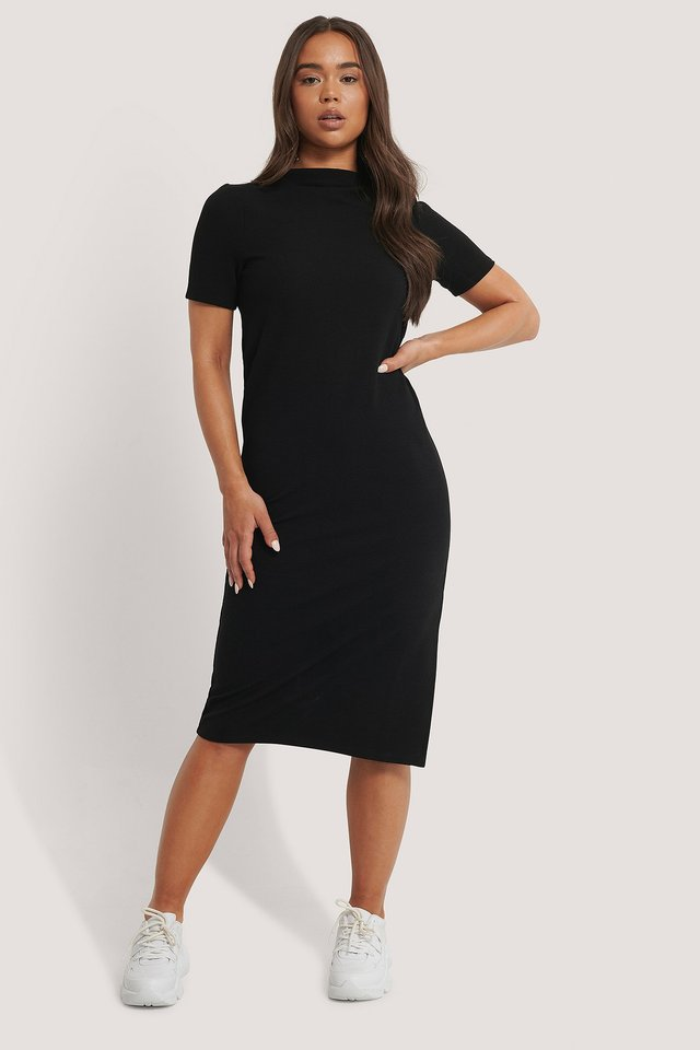 Recycled Straight Basic Side Slit Dress Black