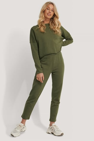 Khaki Ekologiska Raka Basic Sweatpants