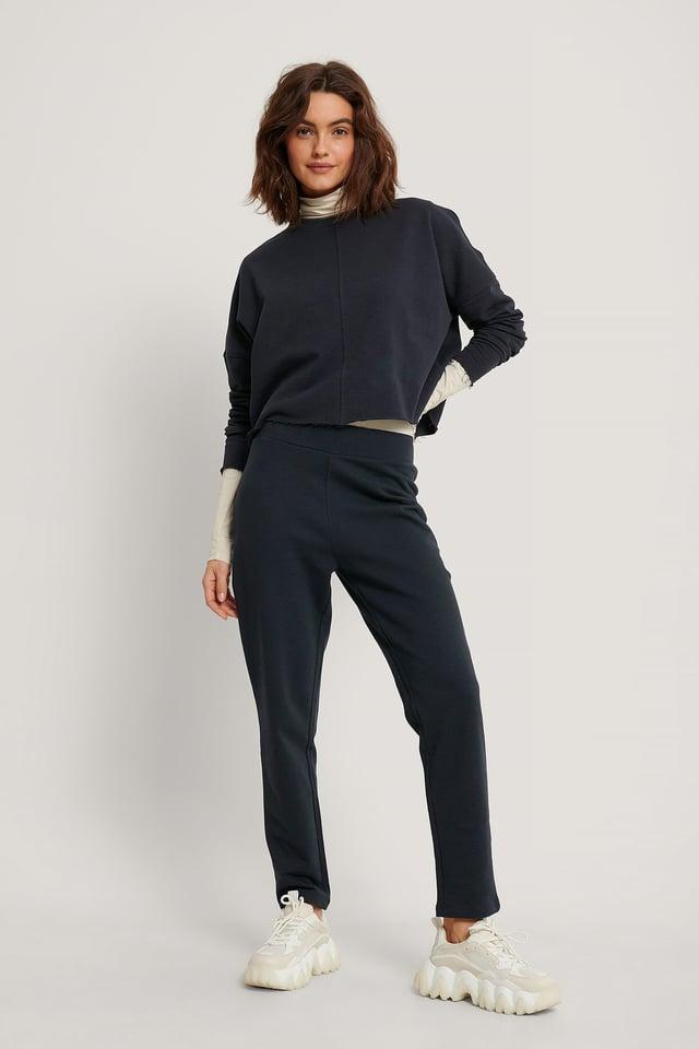 Dark Navy Organic Straight Basic Sweatpants