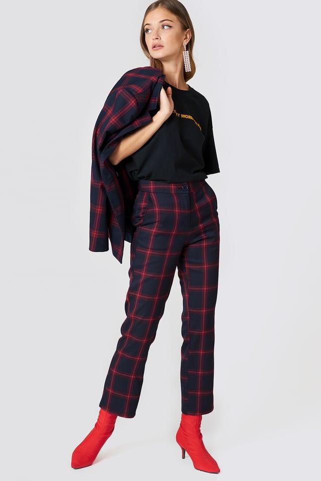 Proste spodnie garsonkowe w kratę Checkered