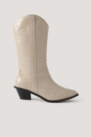 White Lige Cowboystøvler Med Krokodillelook