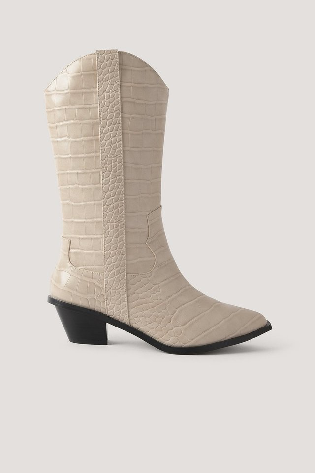 Straight Croc Cowboy Boots White