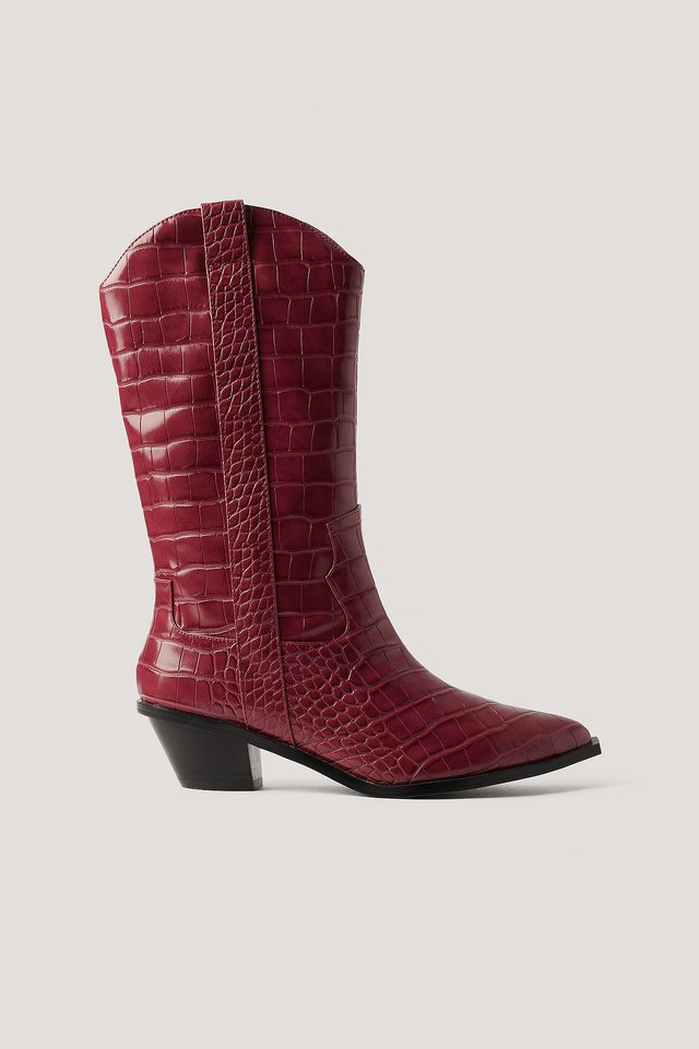 Straight Croc Cowboy Boots Wine Red