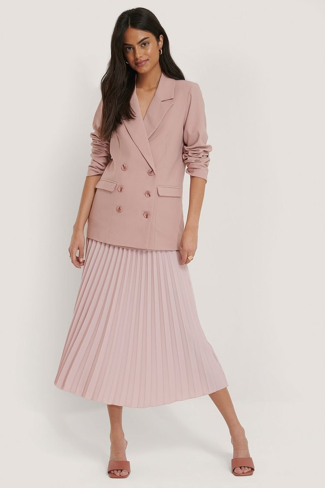 Dusty Pink Straight Double Button Blazer