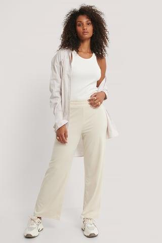 Beige Straight Elastic Waist Pants