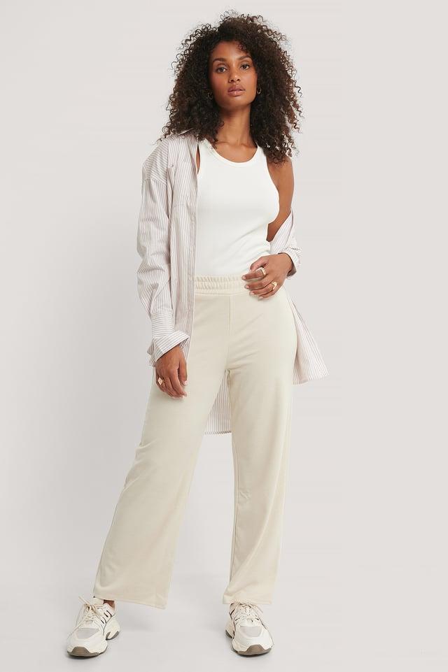Straight Elastic Waist Pants Beige