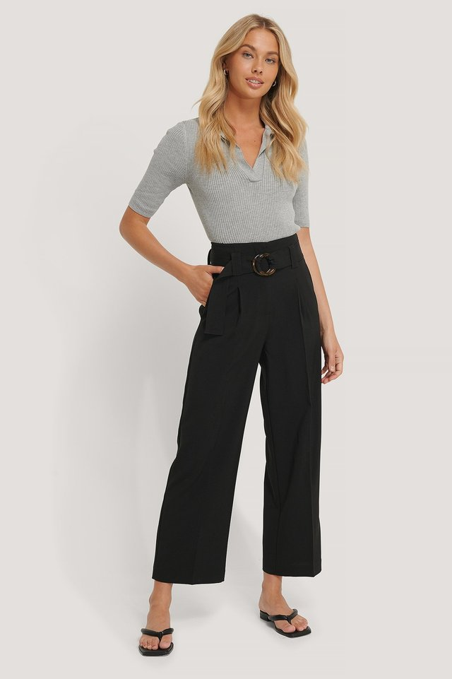 Straight Fit Belted Pants Black