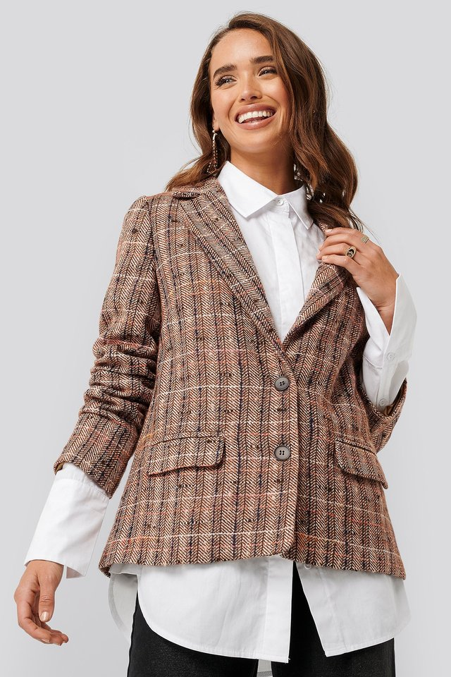 Brown Check Straight Fit Checked Blazer