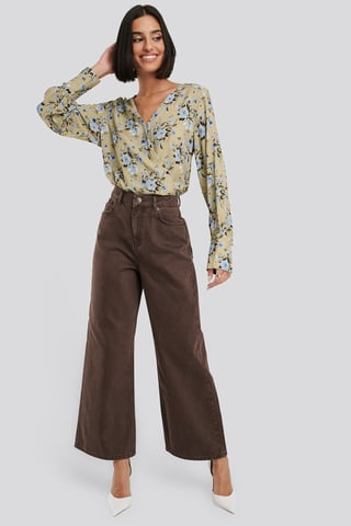 Brown Straight Fit Cropped Jeans