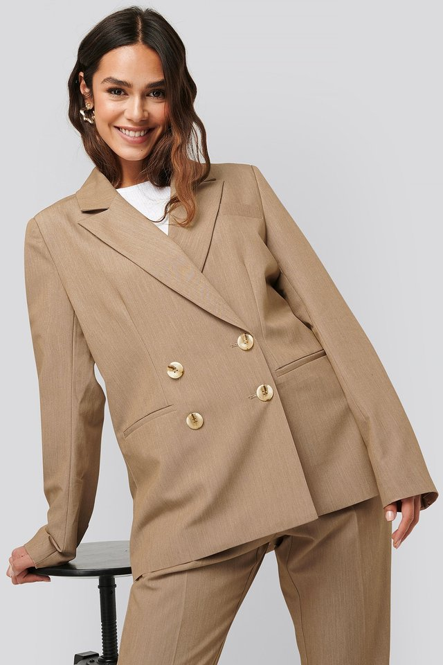 Beige Melange Straight Fit Double Breasted Blazer