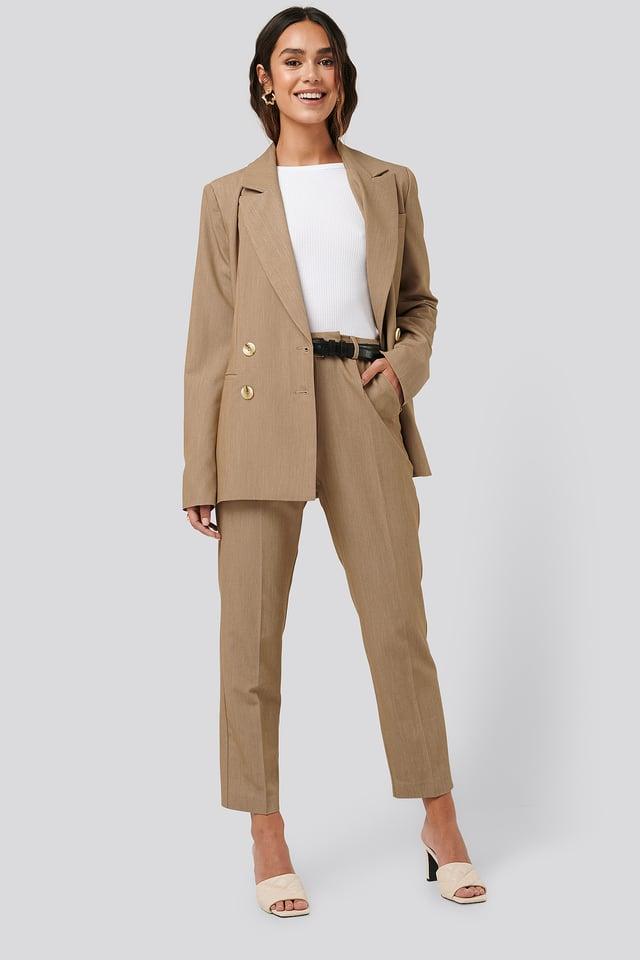 Straight Fit Suit Pants Beige Melange