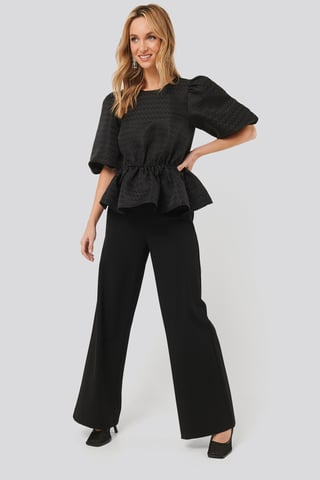 Black Straight Fit Trousers