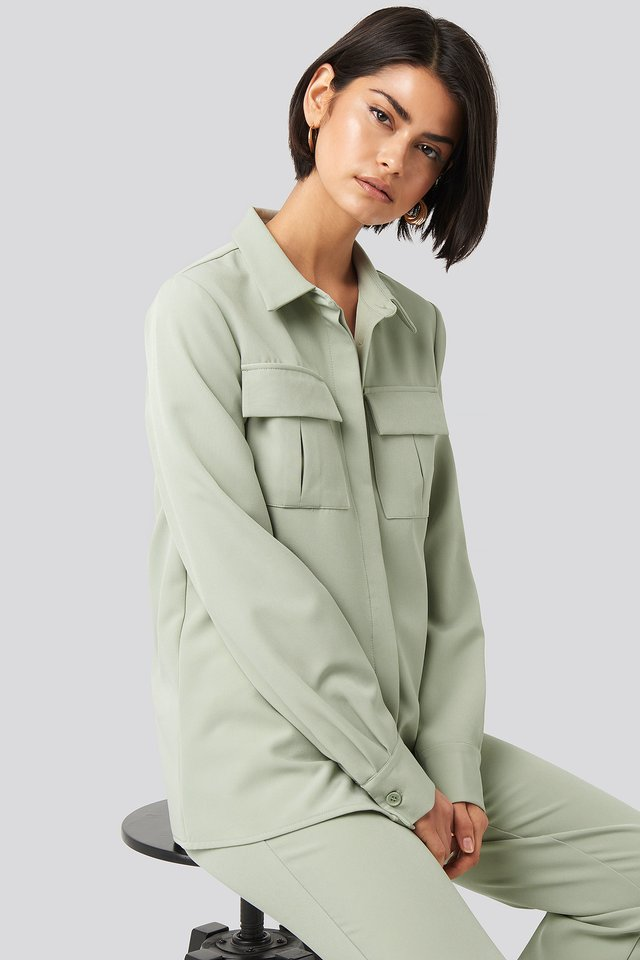 Dusty Green Straight Fitted Overshirt