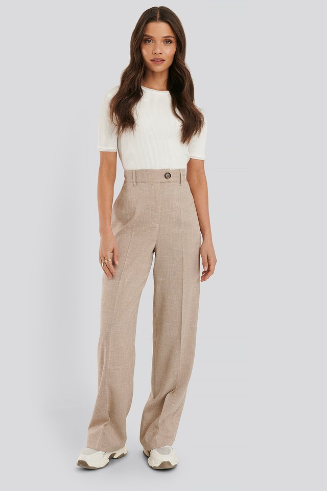 Straight Fitted Suit Pants Beige