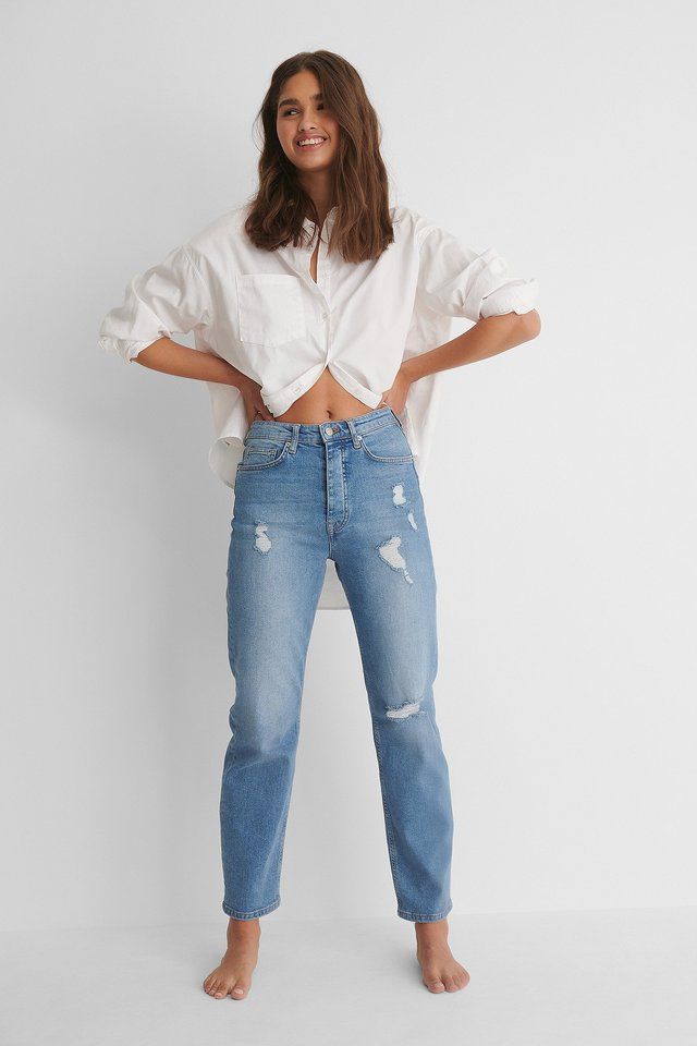 Mid Blue Organic Straight High Waist Destroyed Jeans