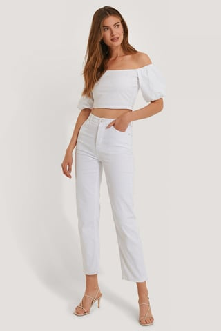 White Straight High Waist Jeans