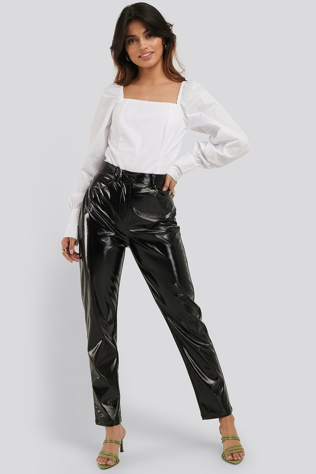 Straight Leg Patent Pants Black