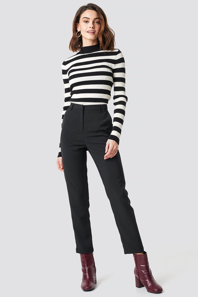 Straight Leg Suit Pants Black