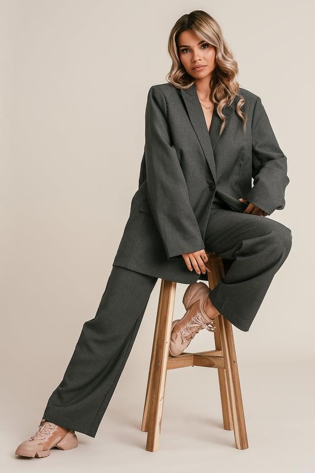 Grey Straight Leg Suit Pants