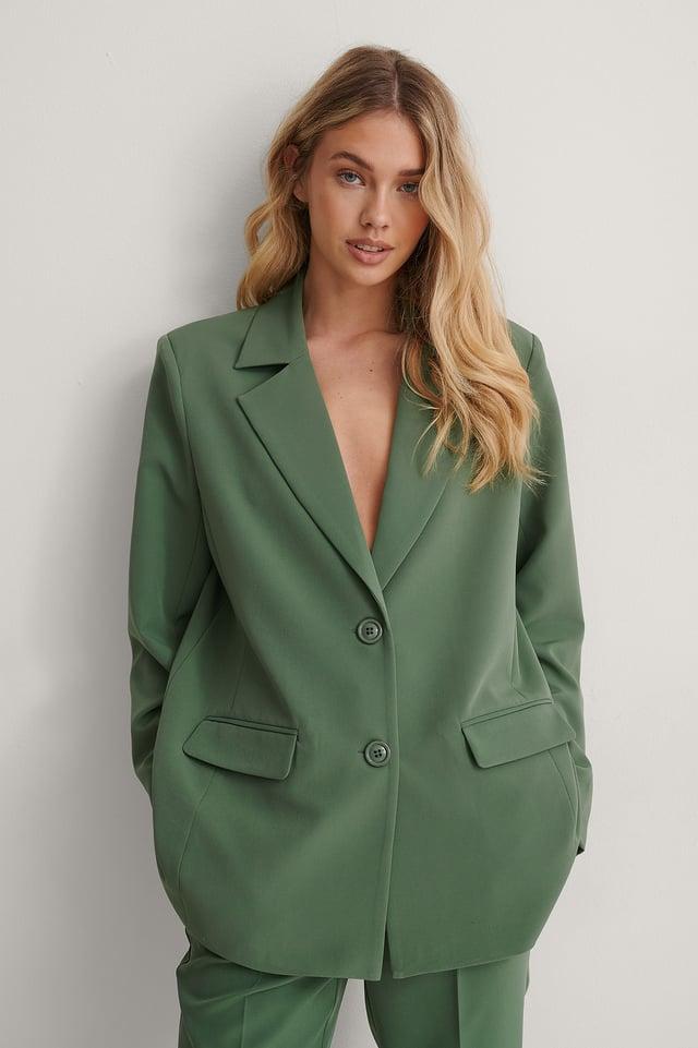 Dark Green Straight Padded Blazer