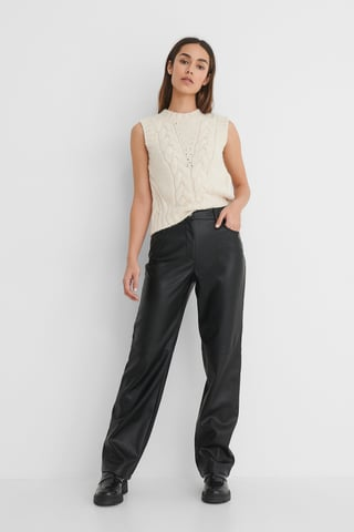 Black Straight PU Pants