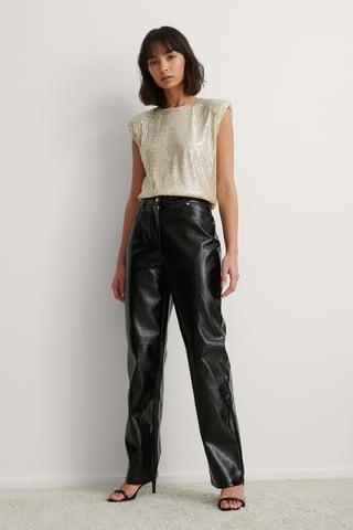 Black Straight PU Vinyl Pants