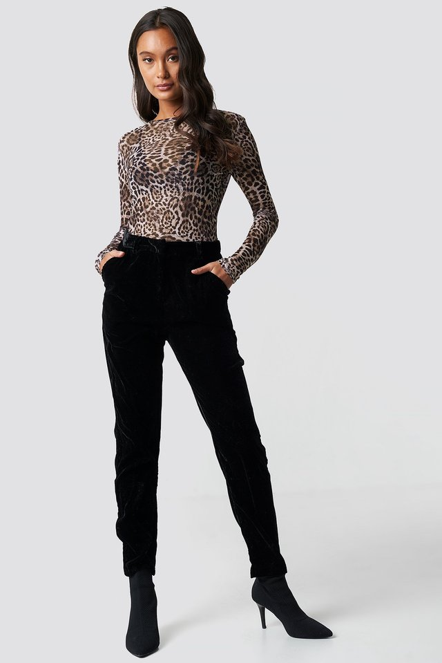 Straight Velvet Suit Pants Black
