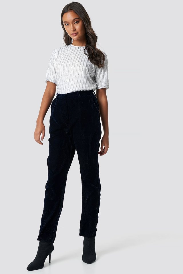 Straight Velvet Suit Pants Midnight Blue