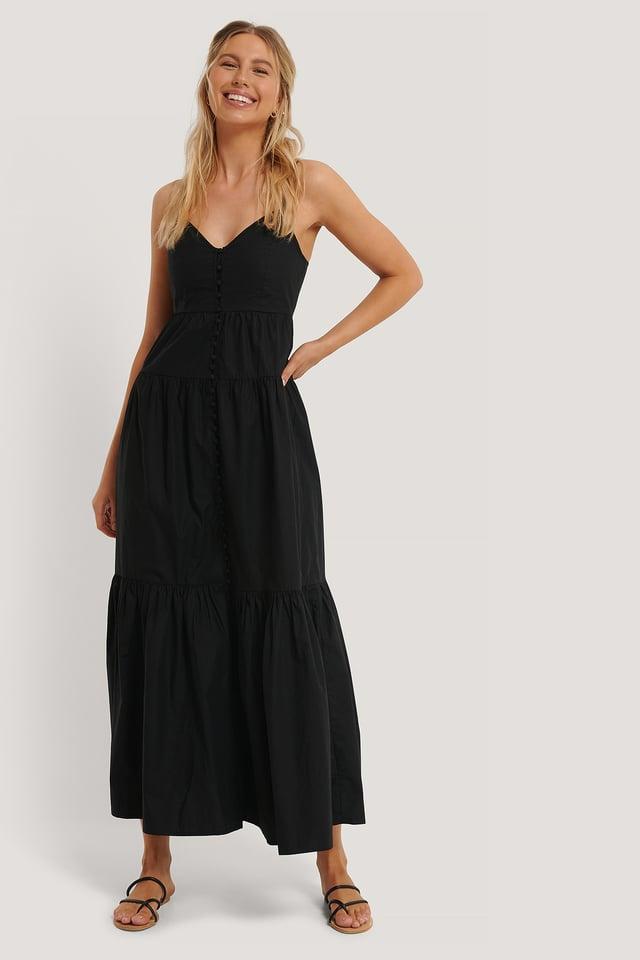 Strap Buttoned Cotton Dress Black
