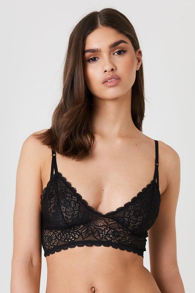 Strap Detail Lace Bralette Black