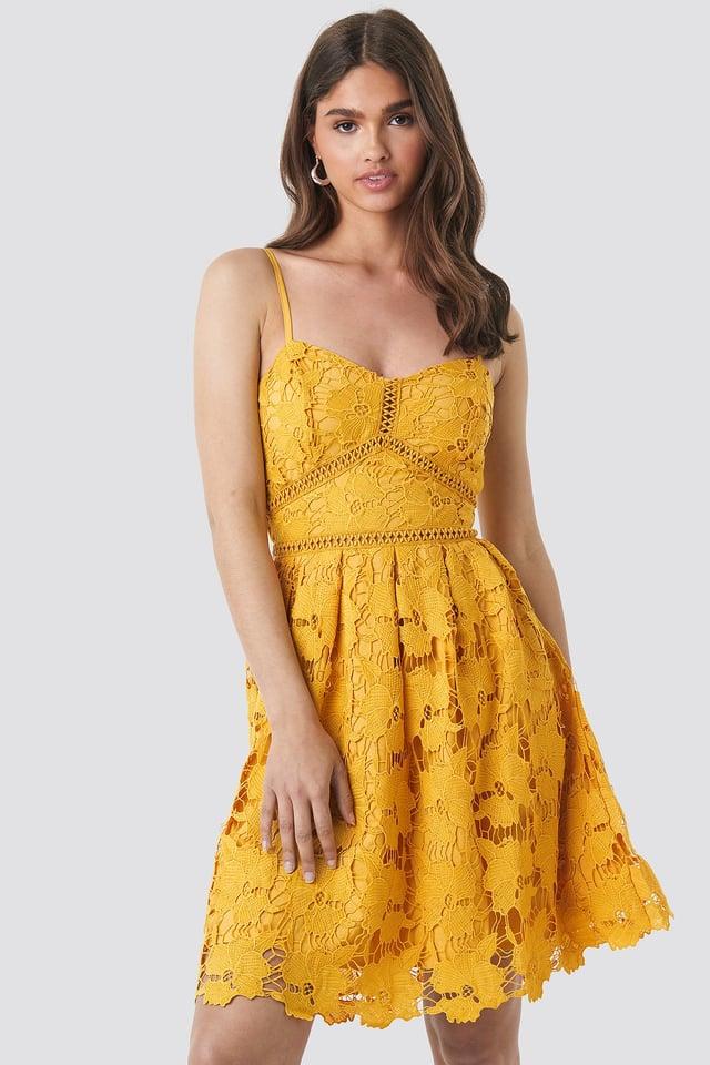 Lace Strap Dress Yellow