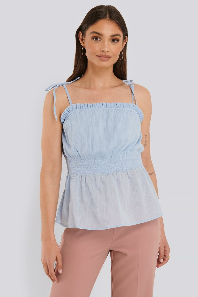 Light Blue Strap Smocked Singlet