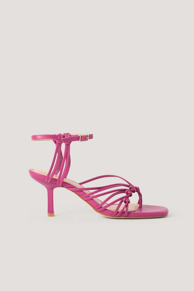 Strappy Back Toe Ring Sandals Hot Pink