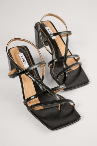 Black Schuhe Mit Block-Absatz Und Riemchen