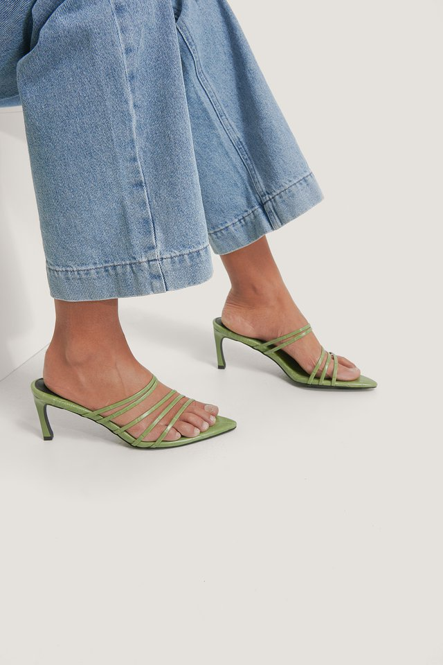 Strappy Pointy Sandals Green Croco