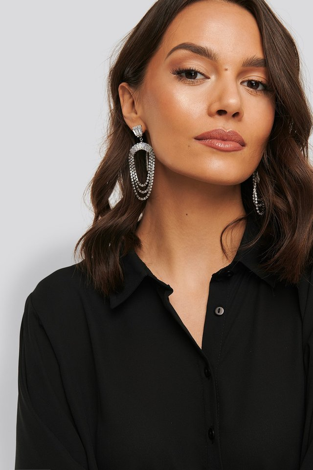Strass Hanging Earrings NA-KD Accessories
