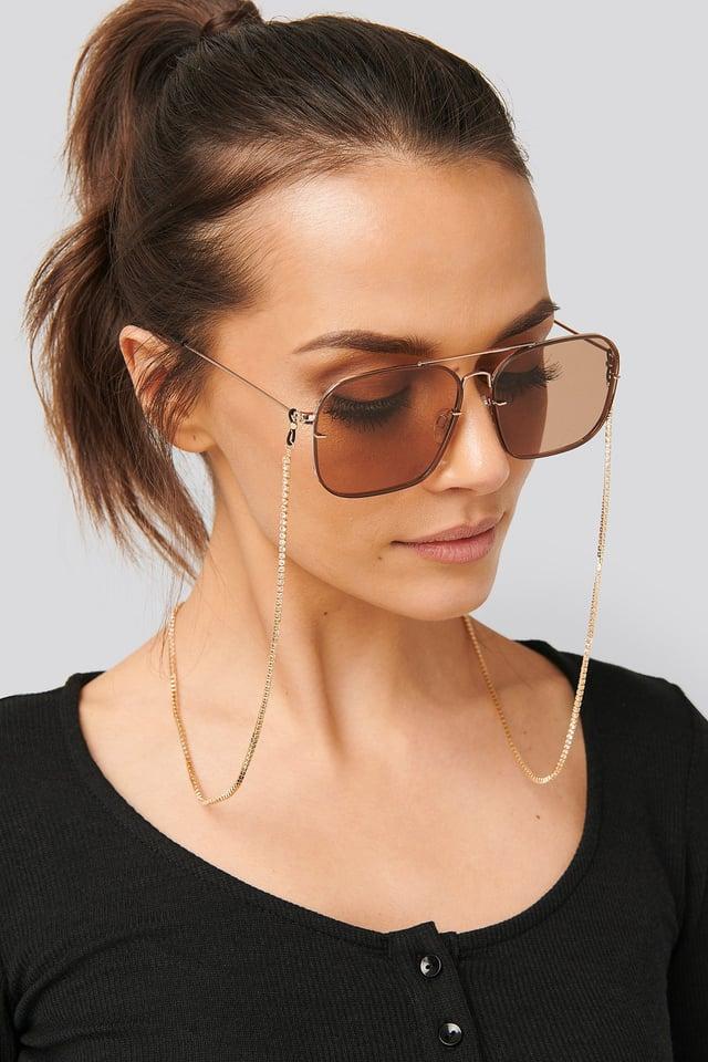 Strass Sunglass Chain Gold