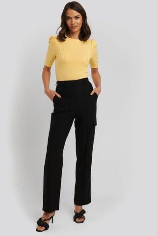 Black Straight Fit Pocket Suit Pants