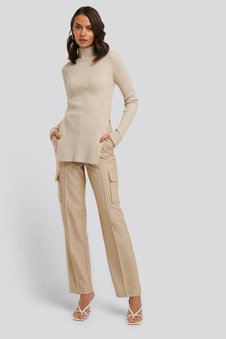 Beige Straight Fit Pocket Suit Pants