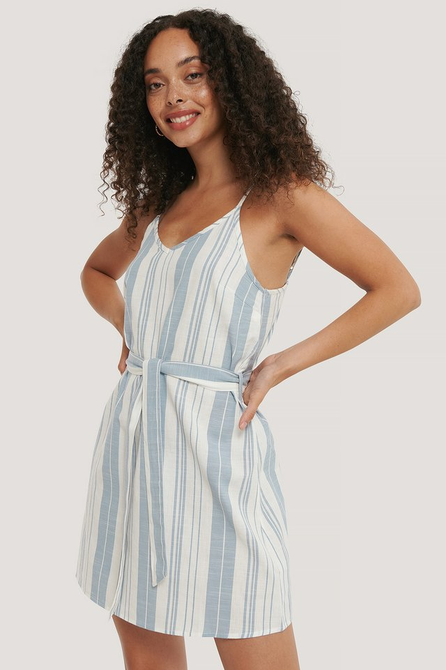 Stripe Cotton Strap Dress Blue White Stripes