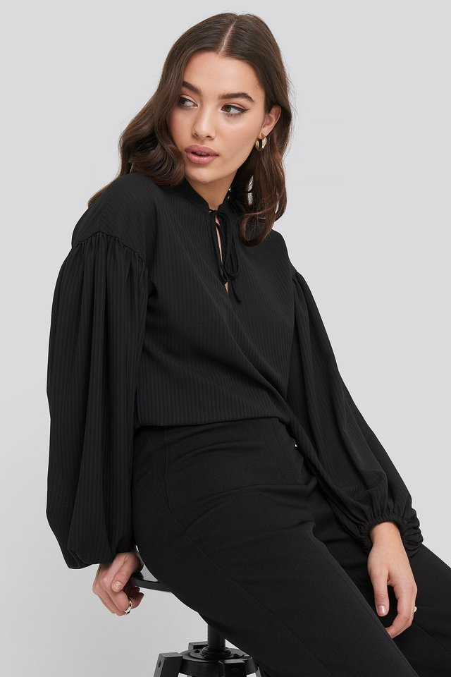 Striped Balloon Sleeve Blouse Black