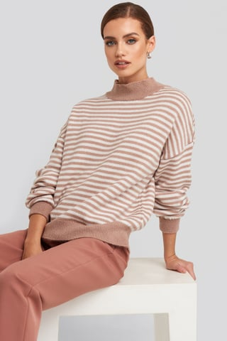Pink/White Striped Balloon Sleeve Knitted Sweater
