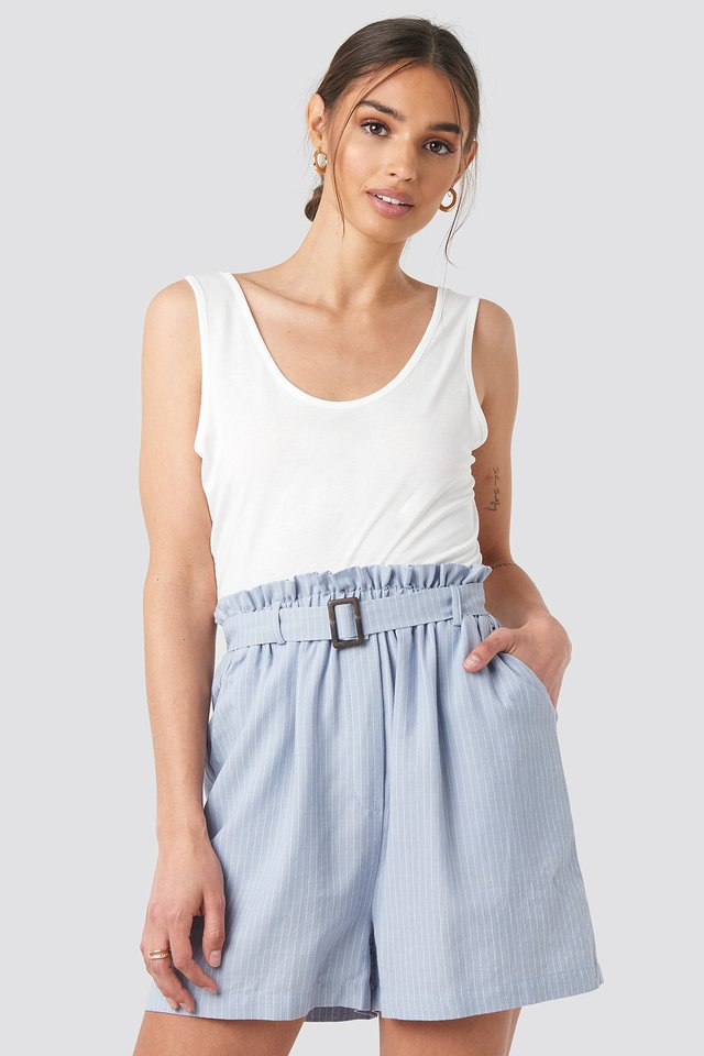 Striped Belted Waist Shorts Light Blue