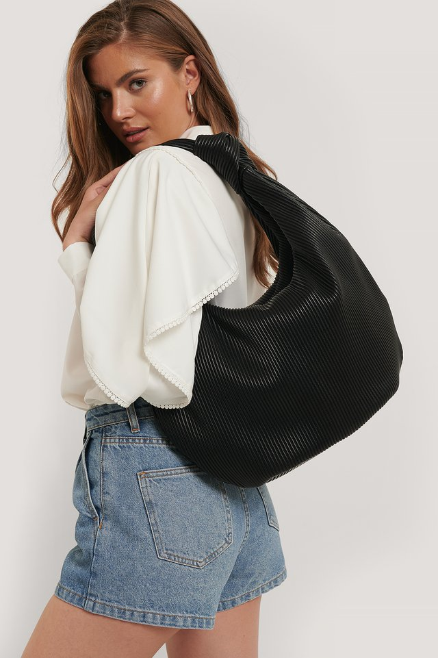 Black Striped Embossed Knot Hobo Bag