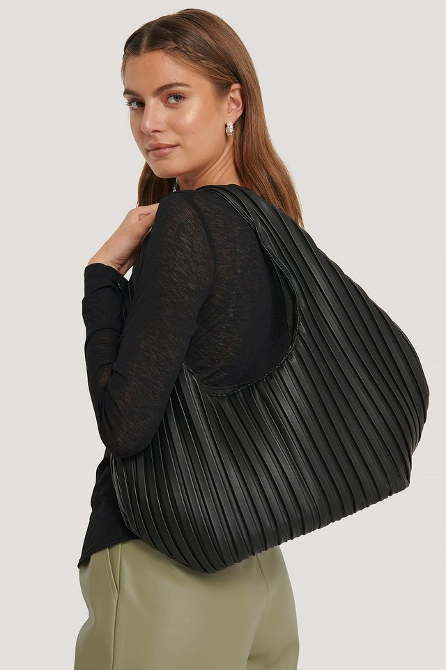 Black Striped Embossed Hobo Bag