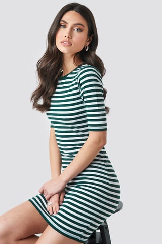 Green Striped Fitted T-shirt Dress