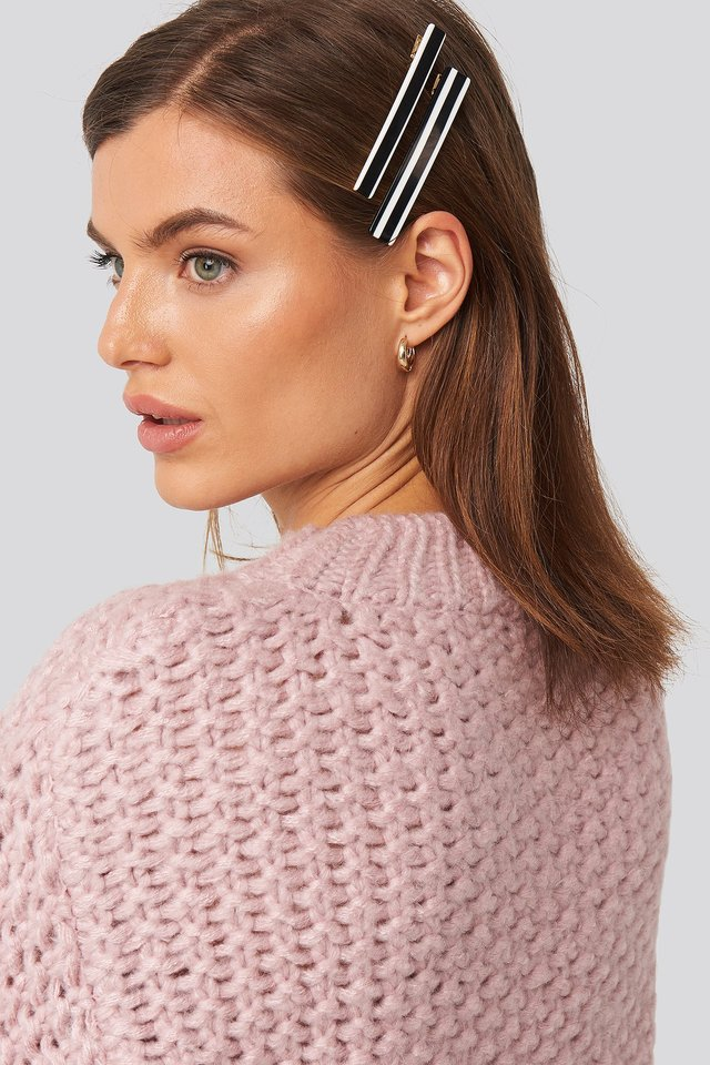 Black Striped Hairclips