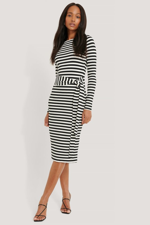 Striped Jersey Dress Black/White
