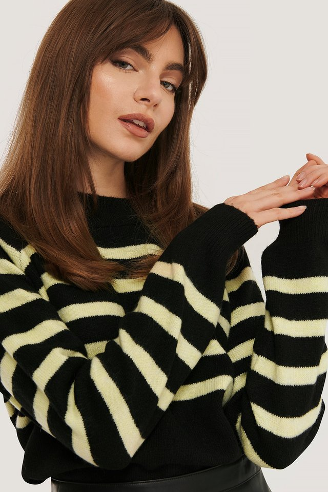 Striped Knitted Sweater Black